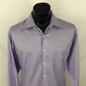 Peter Millar Crown Finish Button Up Shirt Purple L